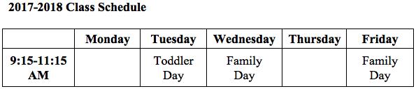 2017-2018 Class Schedule Chart