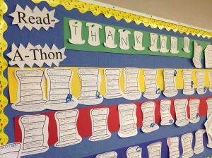 Gail displayed our lists of books from the read-a-thon on the bulletin board in the classroom.