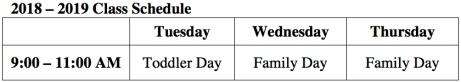 2018-2019 SSCP Class Schedule